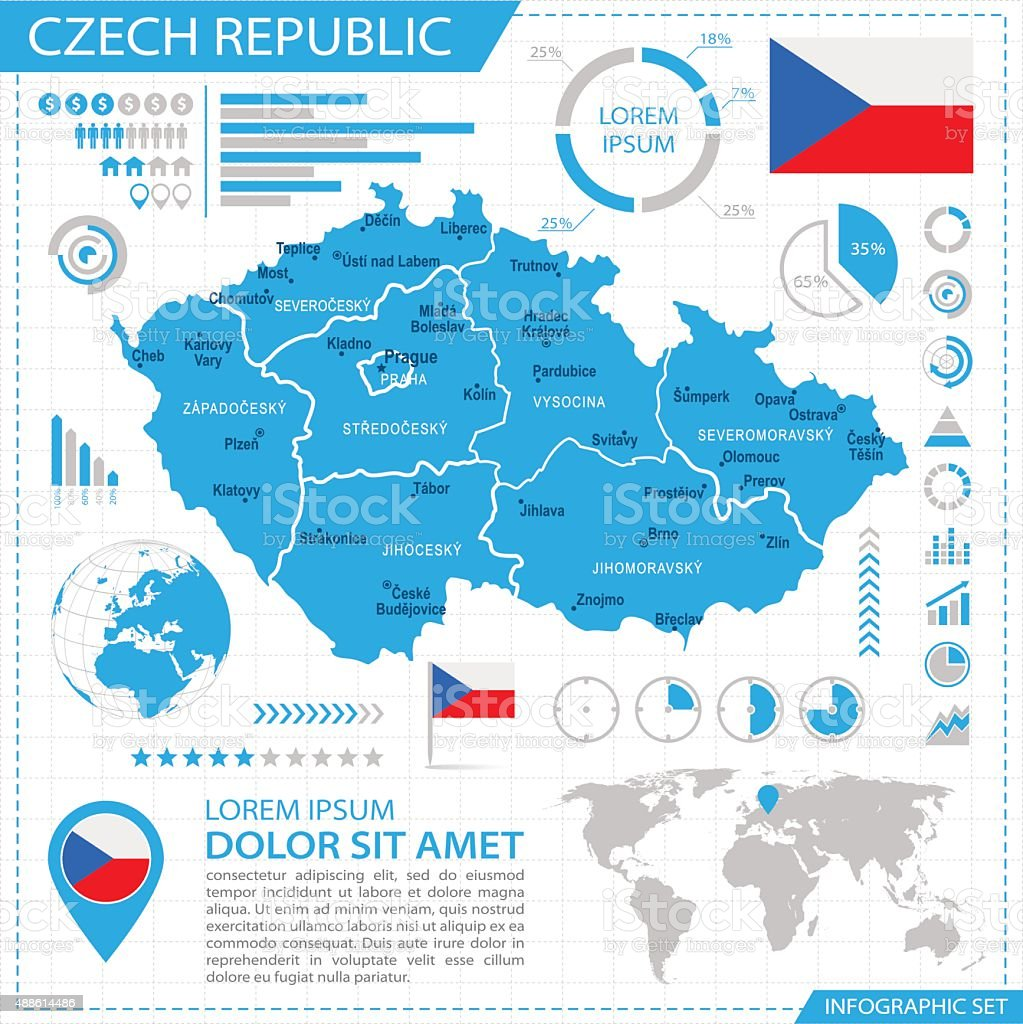 Czech Republic - infographic map - Illustration vector art illustration