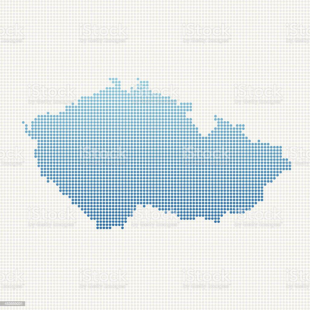 Czech Republic Map Blue Dot Pattern royalty-free stock vector art