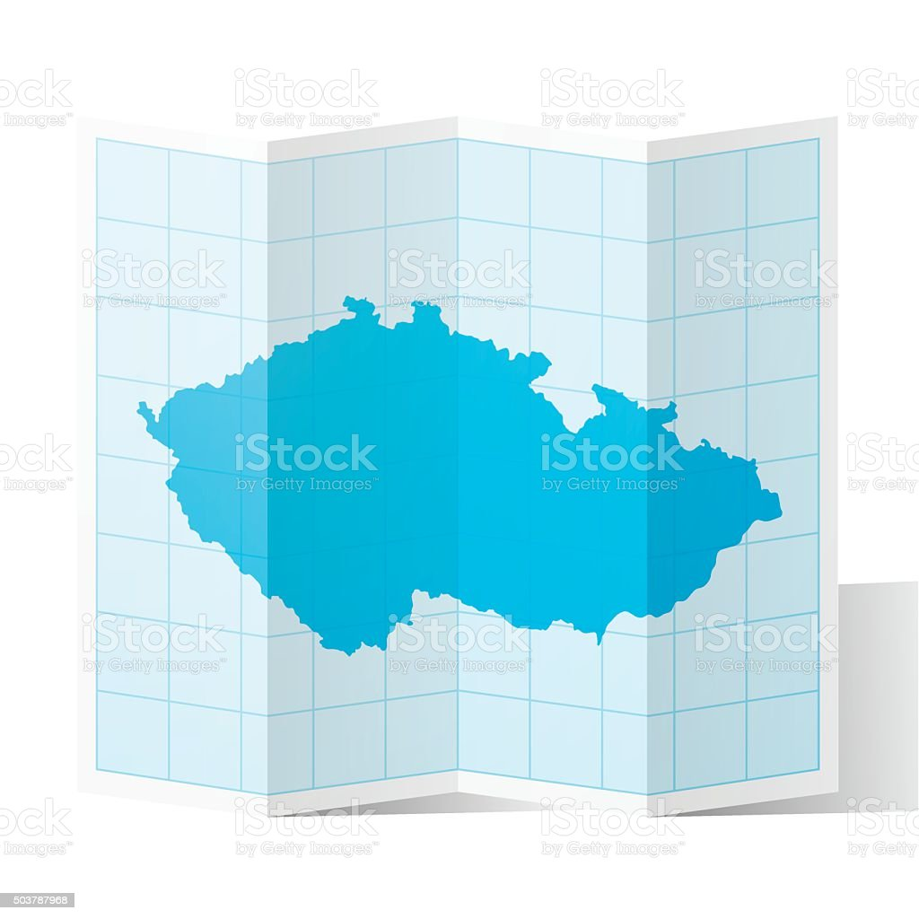 Czech Republic Map folded, isolated on white Background vector art illustration