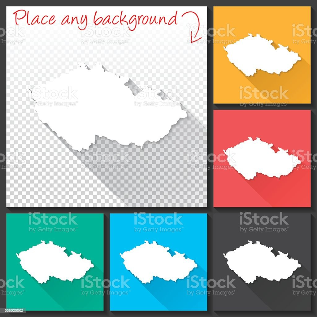 Czech Republic Map for design, Long Shadow, Flat Design vector art illustration