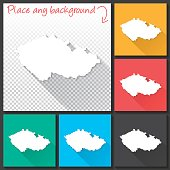 Czech Republic Map for design, Long Shadow, Flat Design