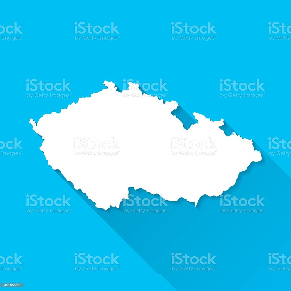 Czech Republic Map on Blue Background, Long Shadow, Flat Design vector art illustration