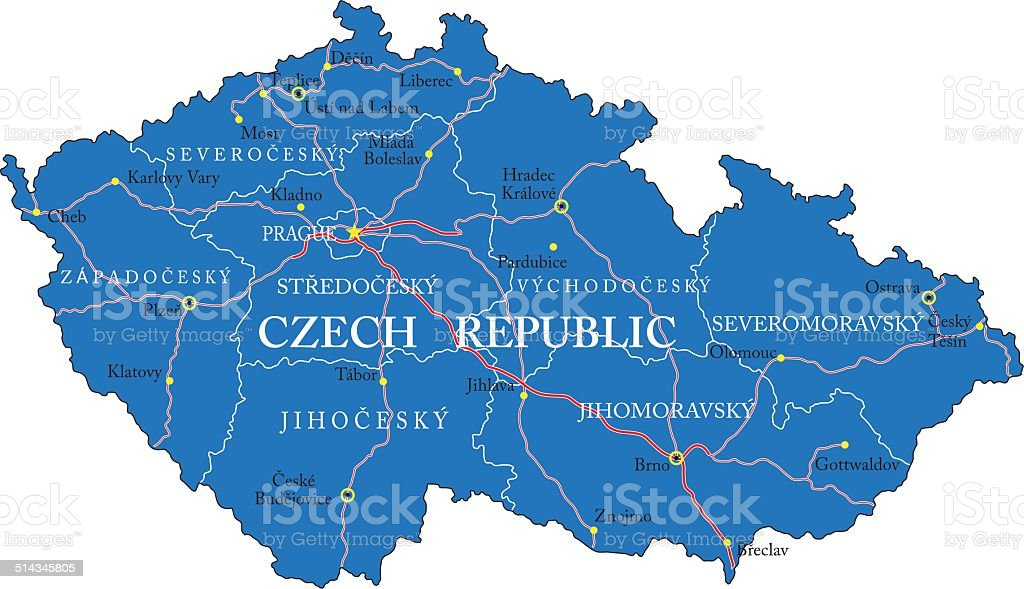 Czech Republic map vector art illustration