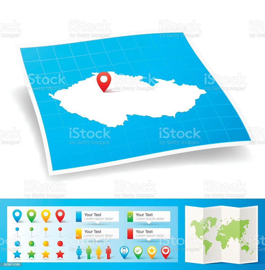 Czech Republic Map with location pins isolated on white Background vector art illustration