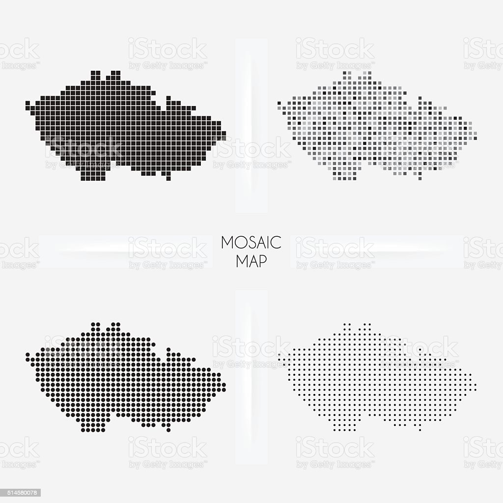 Czech Republic maps - Mosaic squarred and dotted vector art illustration