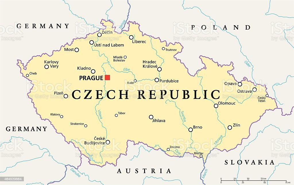 Czech Republic Political Map vector art illustration