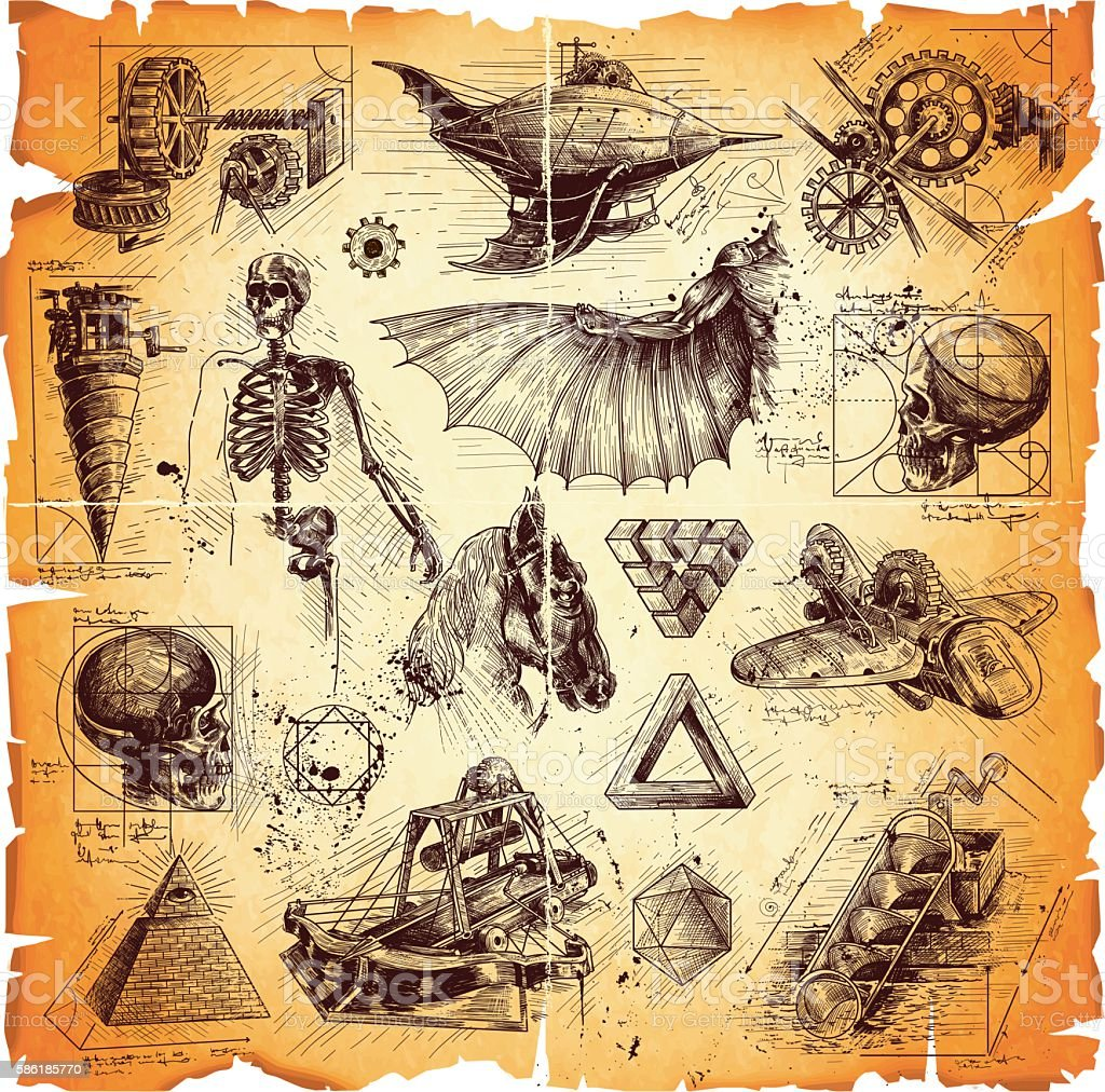 da Vinci style drawings vector art illustration