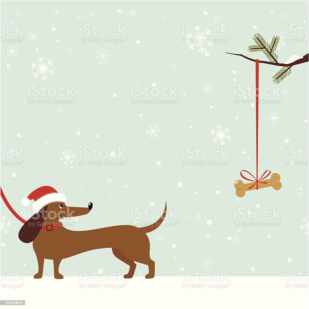 Dachshund dog with Santa Hat vector art illustration