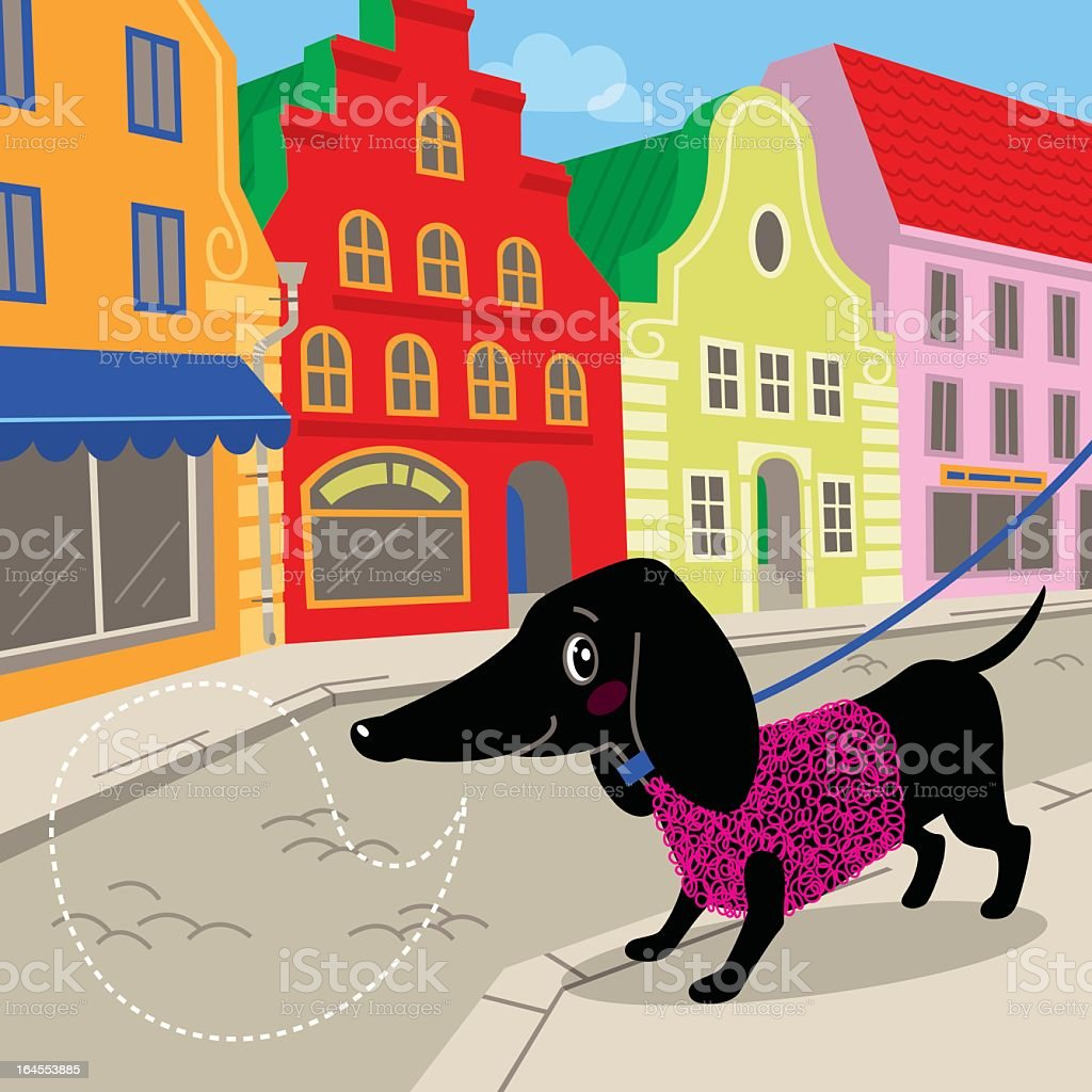 Dachshund in town vector art illustration