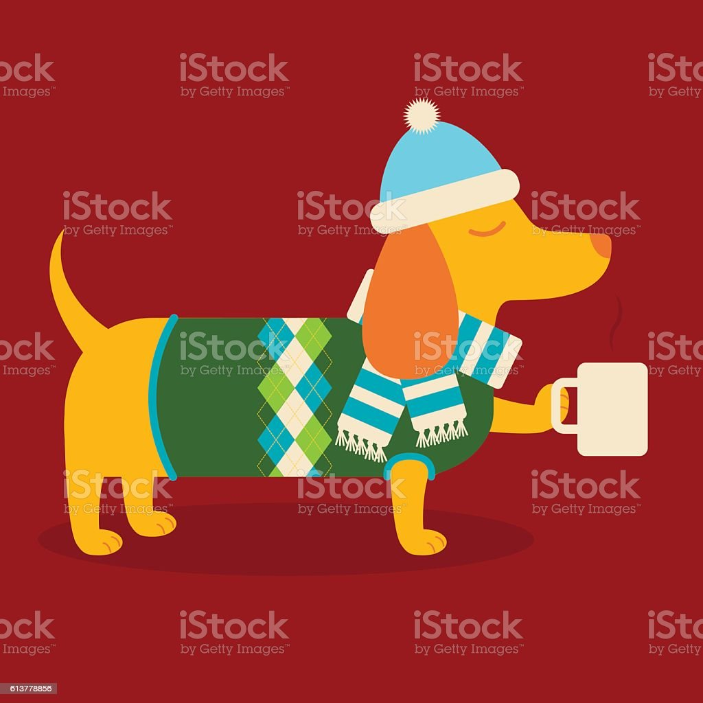 Dachshund with Hot Cocoa vector art illustration