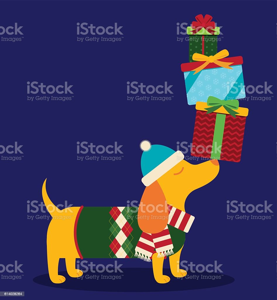 Dachshund with Presents vector art illustration