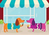 Dachshunds on a Date at an Ice Cream Shoppe