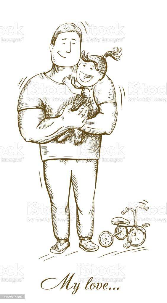 dad and daughter. fatherhood. paternal feelings vector art illustration