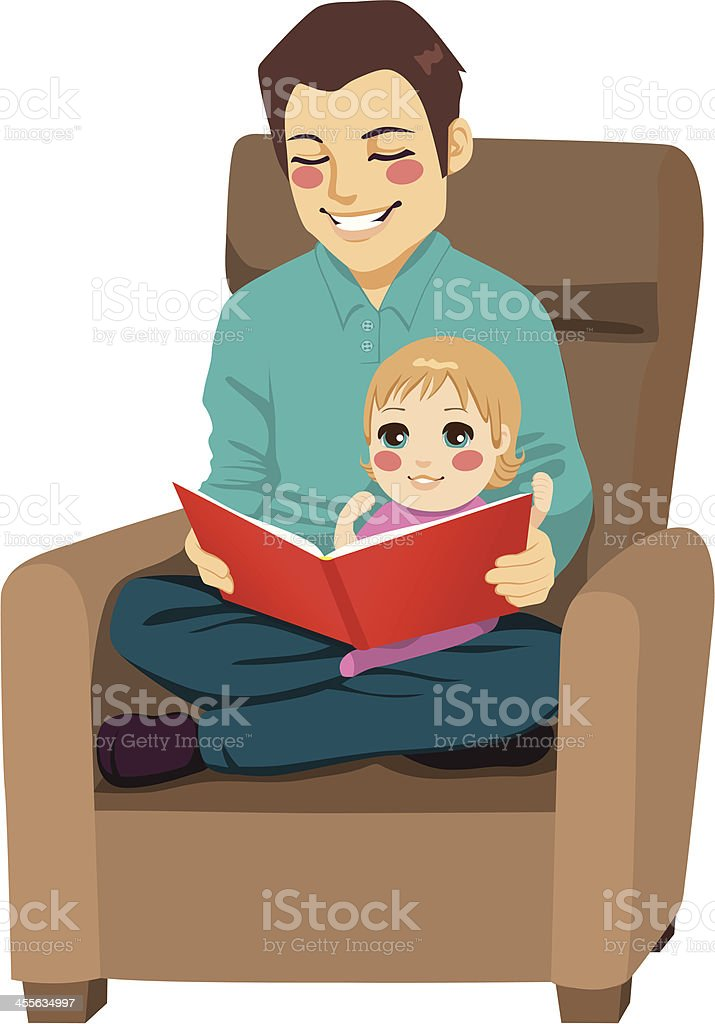 Dad and Daughter Reading royalty-free stock vector art