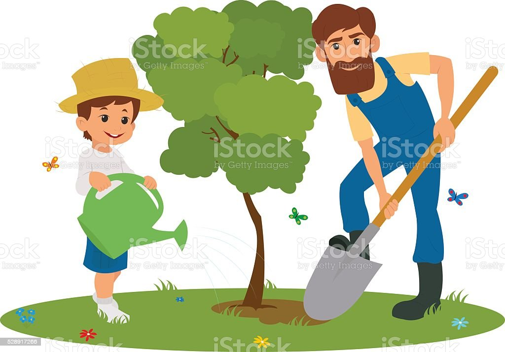 Dad and son planting trees vector art illustration