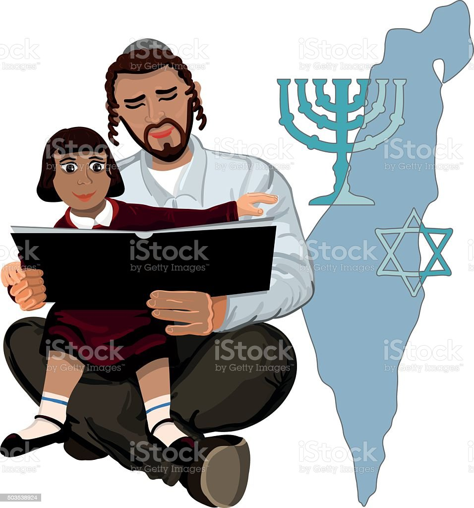 Dad reads the Talmud child sitting on hands vector art illustration