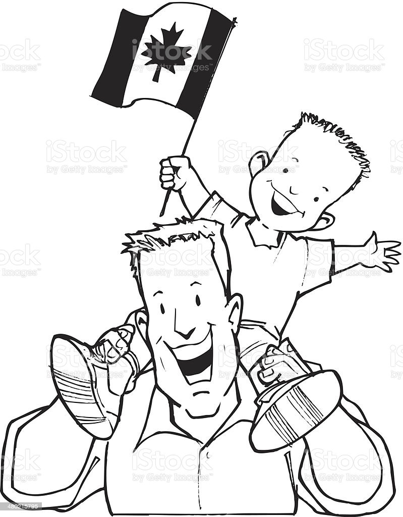 Dad Son Canadian Flag vector art illustration