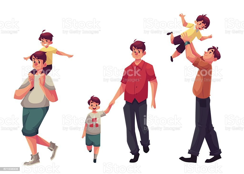 Dad with his little son, playing and walking together vector art illustration