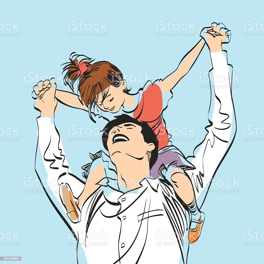 dad with little girl on his shoulders vector art illustration