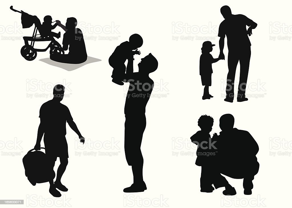 Daddies Vector Silhouette royalty-free stock vector art