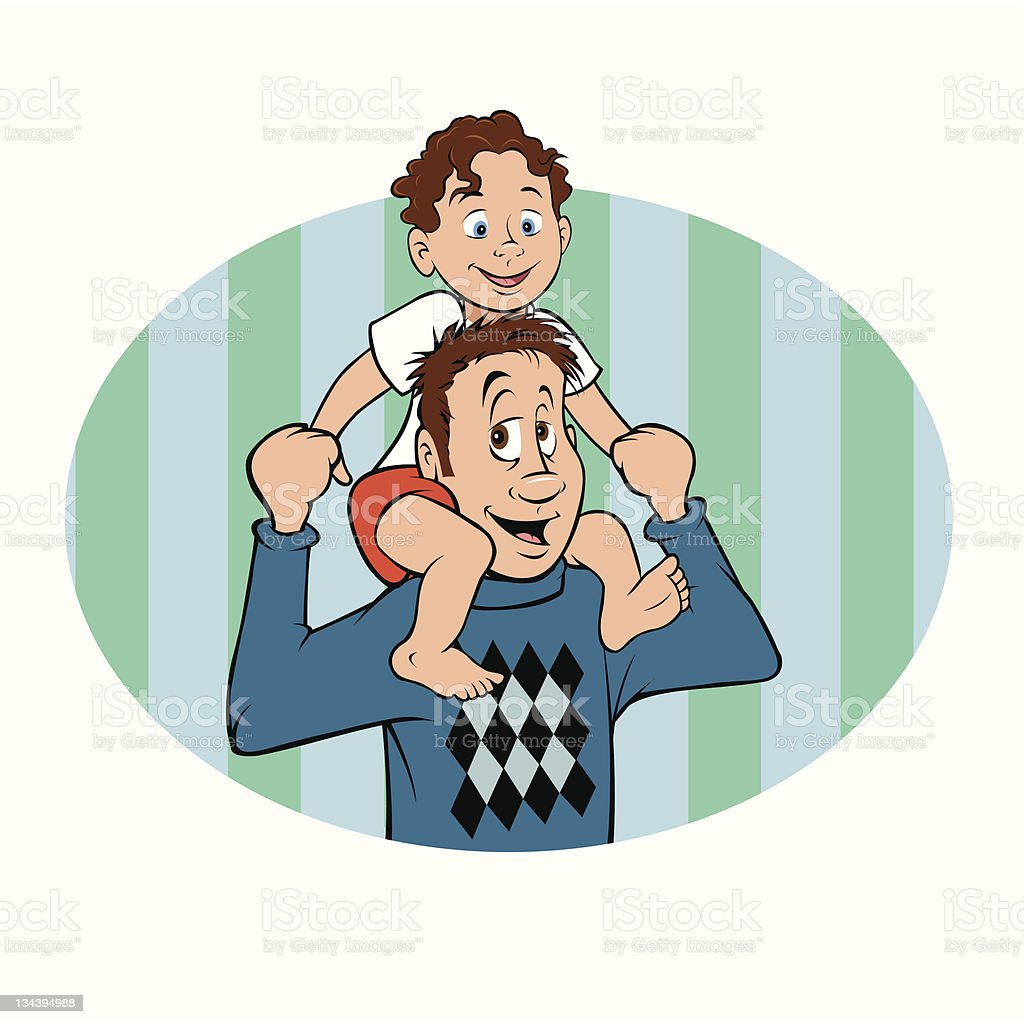 Daddy And Son royalty-free stock vector art