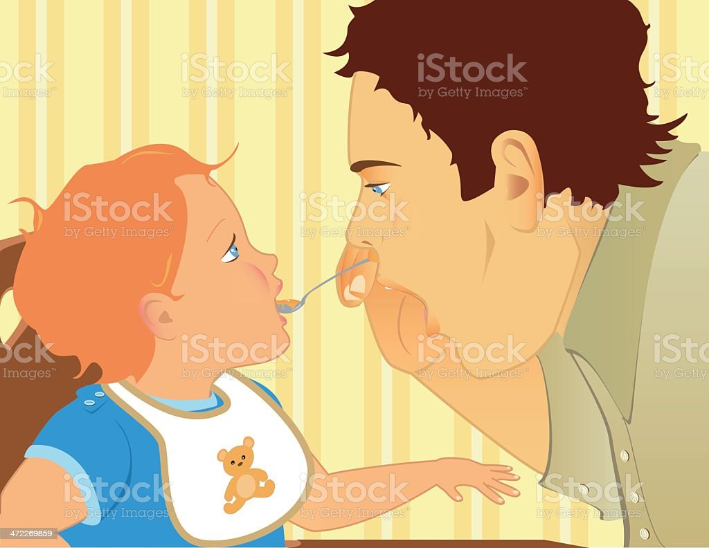 Daddy feeds me royalty-free stock vector art