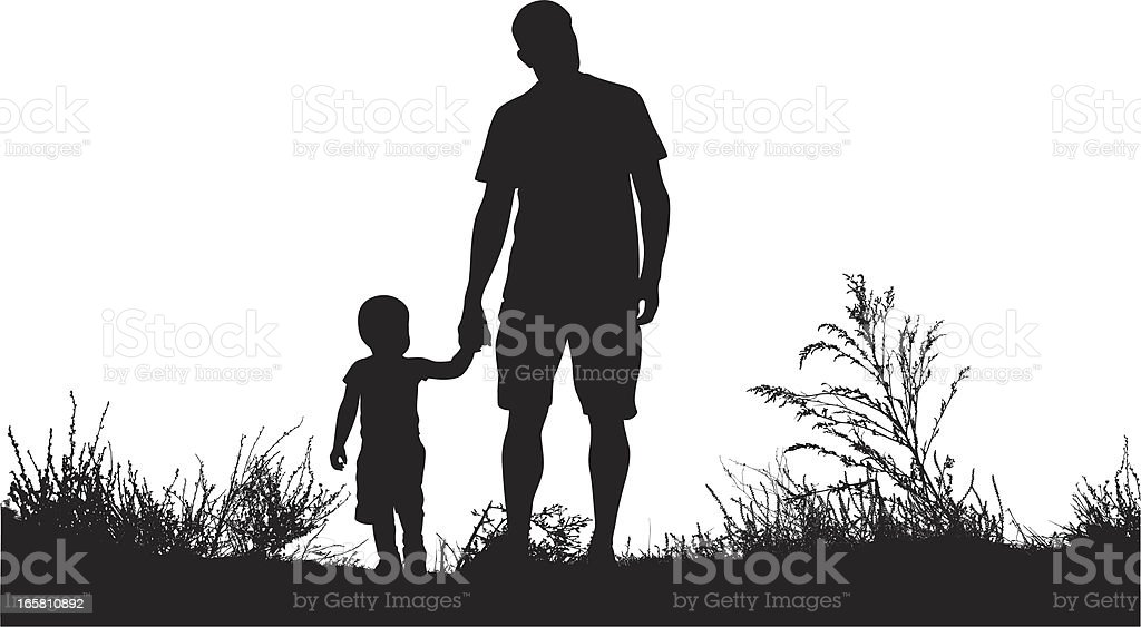 Dad'n Son Vector Silhouette vector art illustration