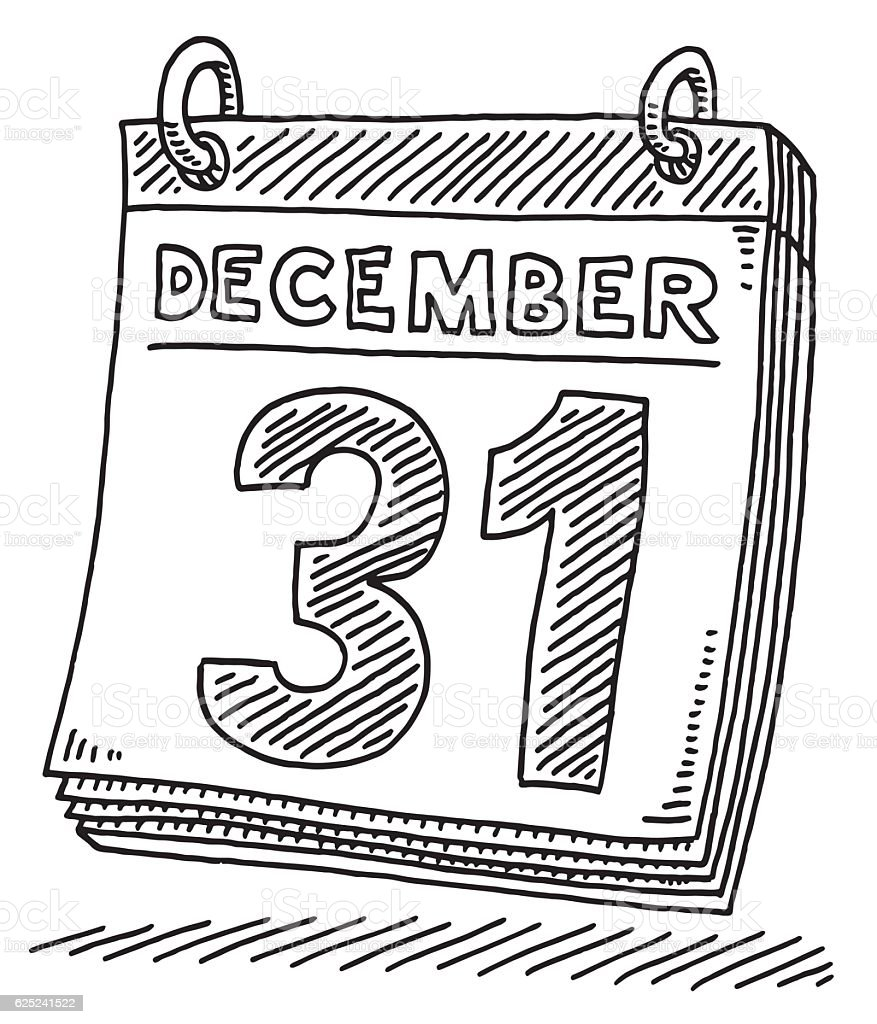 Daily Calendar December 31 Drawing vector art illustration