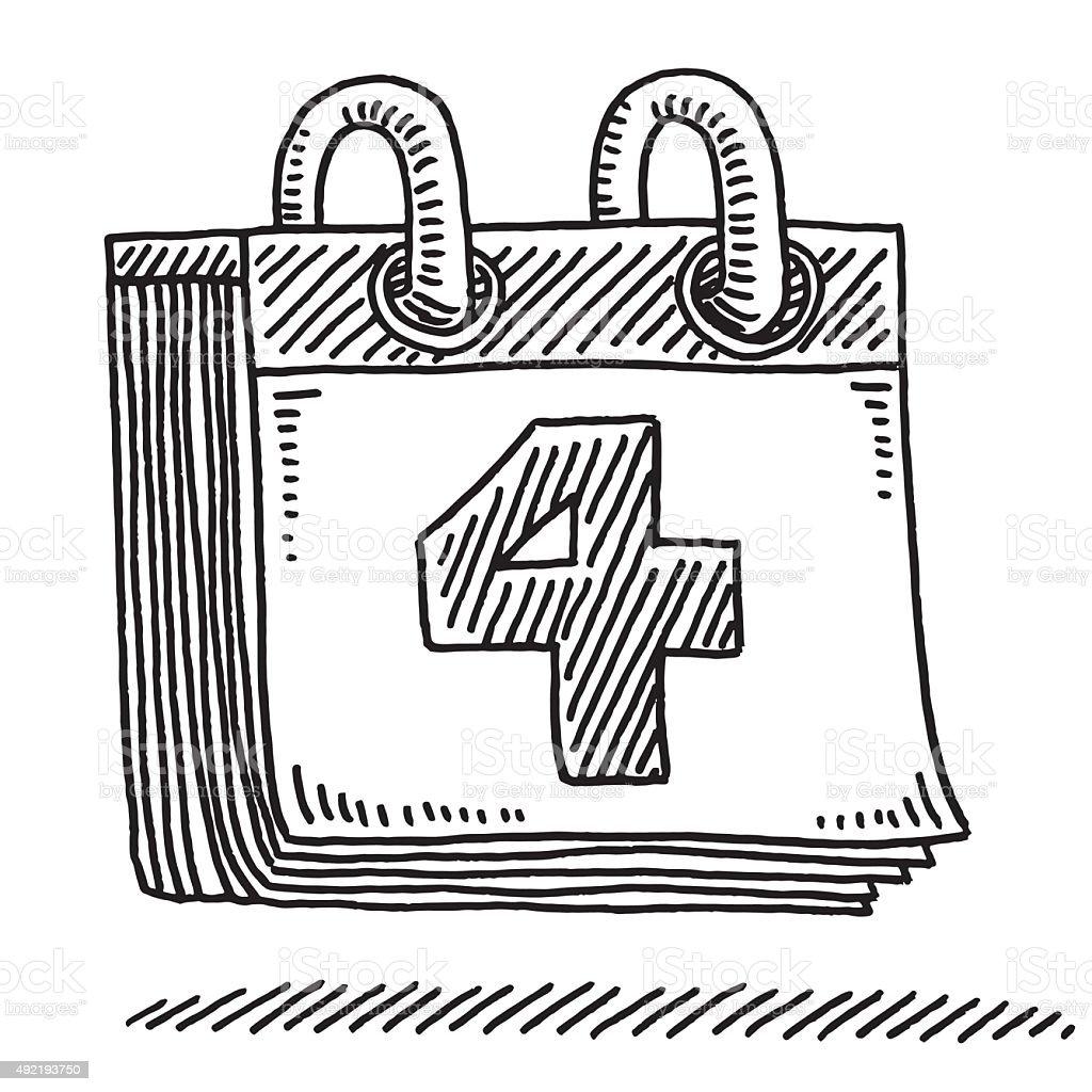 Daily Calendar Number 4 Drawing vector art illustration
