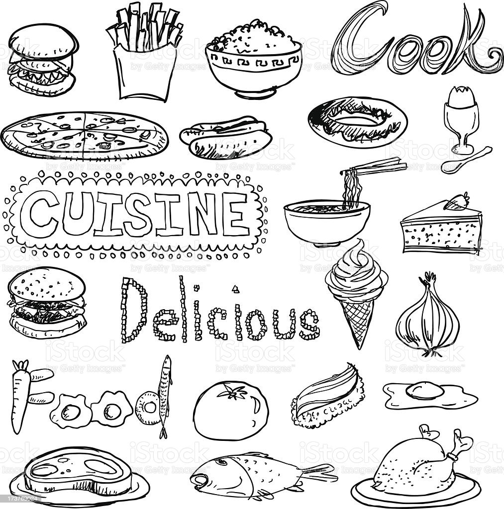 Daily food sketch drawing collection royalty-free stock vector art