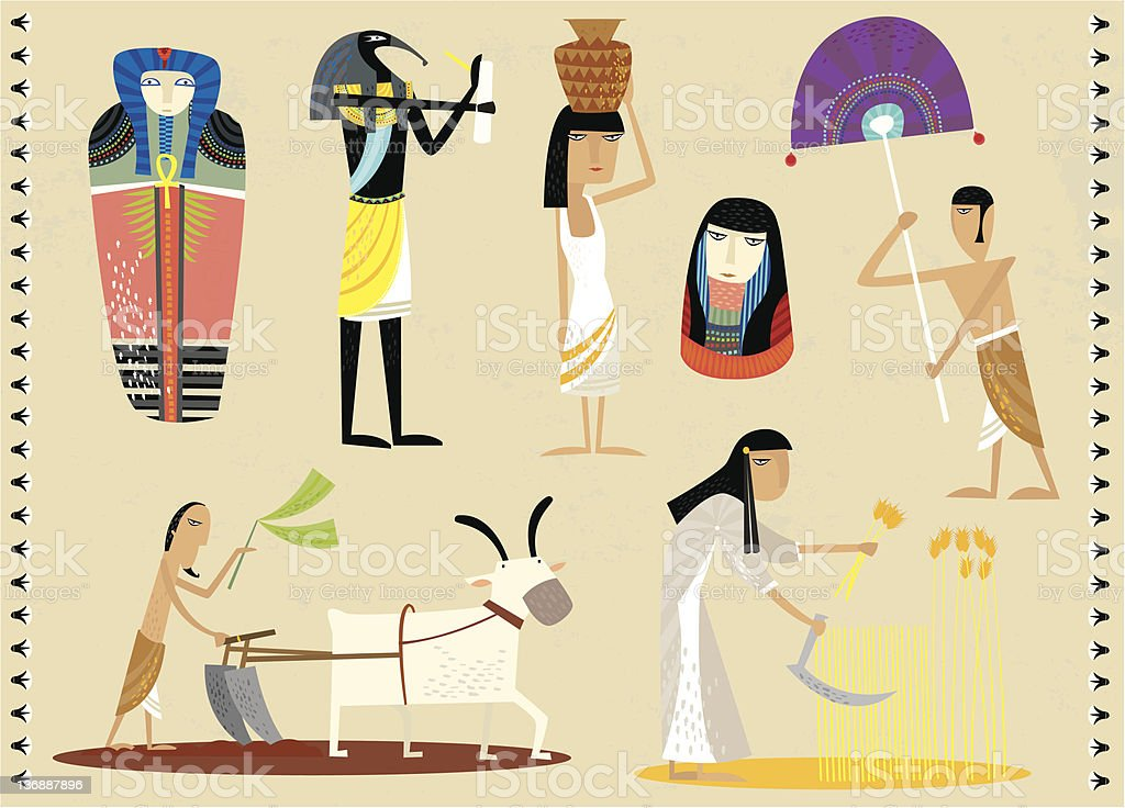 daily life of an egyptians vector art illustration