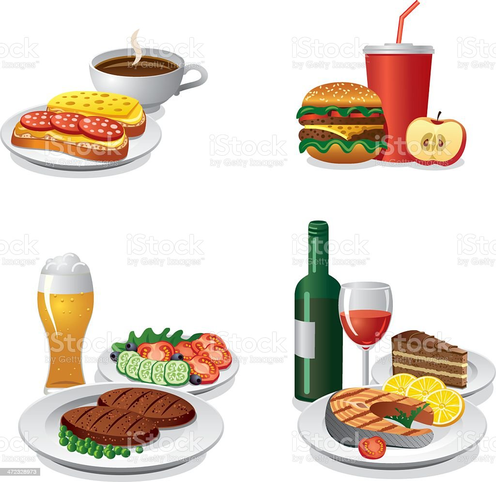 daily meals icon set vector art illustration