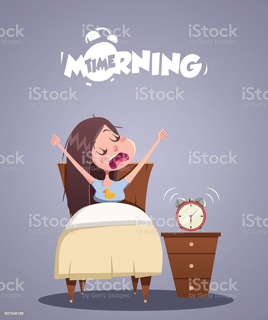 Daily Morning Life. Young girl yawns in bed vector art illustration
