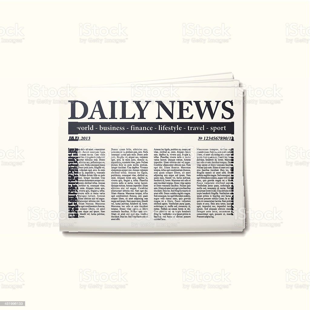 Daily news newspaper copy on white background vector art illustration