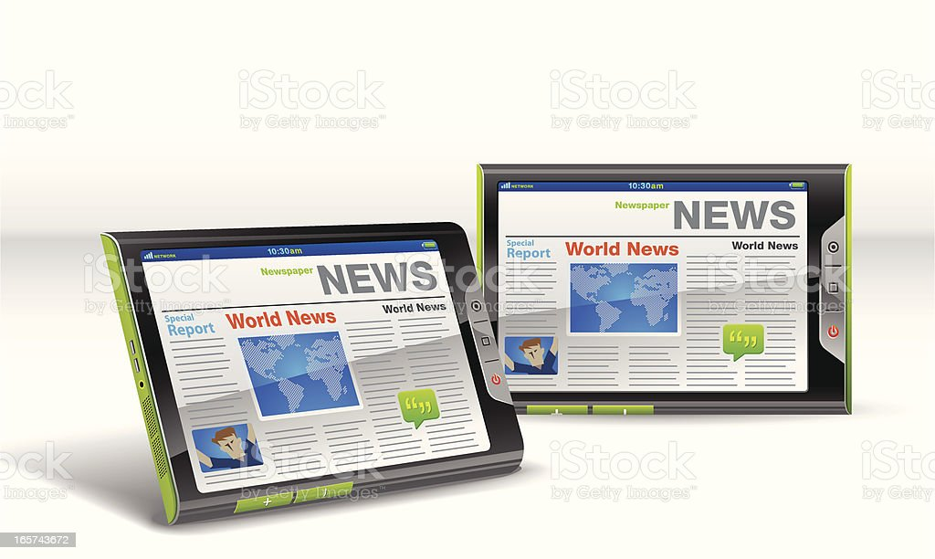 Daily Newspaper in Touch Tablet royalty-free stock vector art