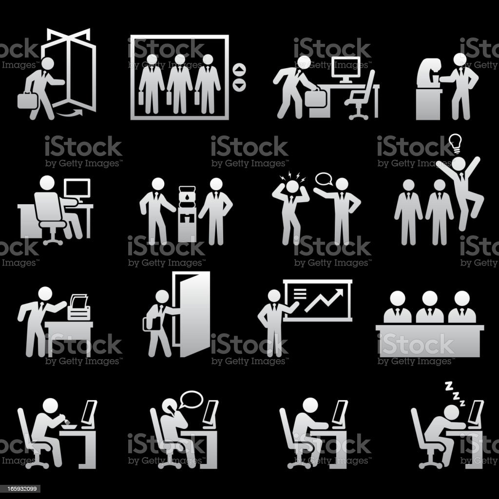 Daily Office Job black and white royalty-free vector icon set royalty-free stock vector art