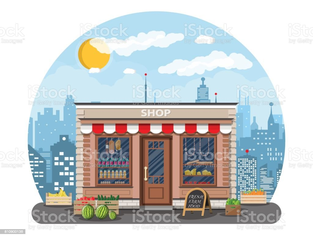 Daily products shop in city vector art illustration