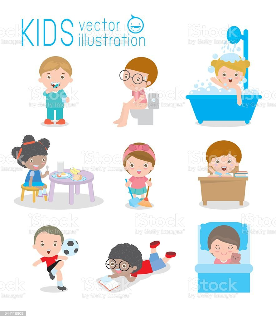 daily routine, daily routine of happy kids, Health and hygiene vector art illustration