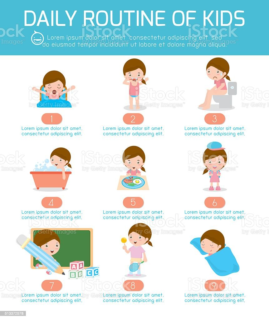 daily routine, daily routine of happy kids . infographic element vector art illustration