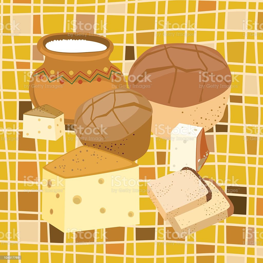 Dairy And Bread Of Shavuot vector art illustration