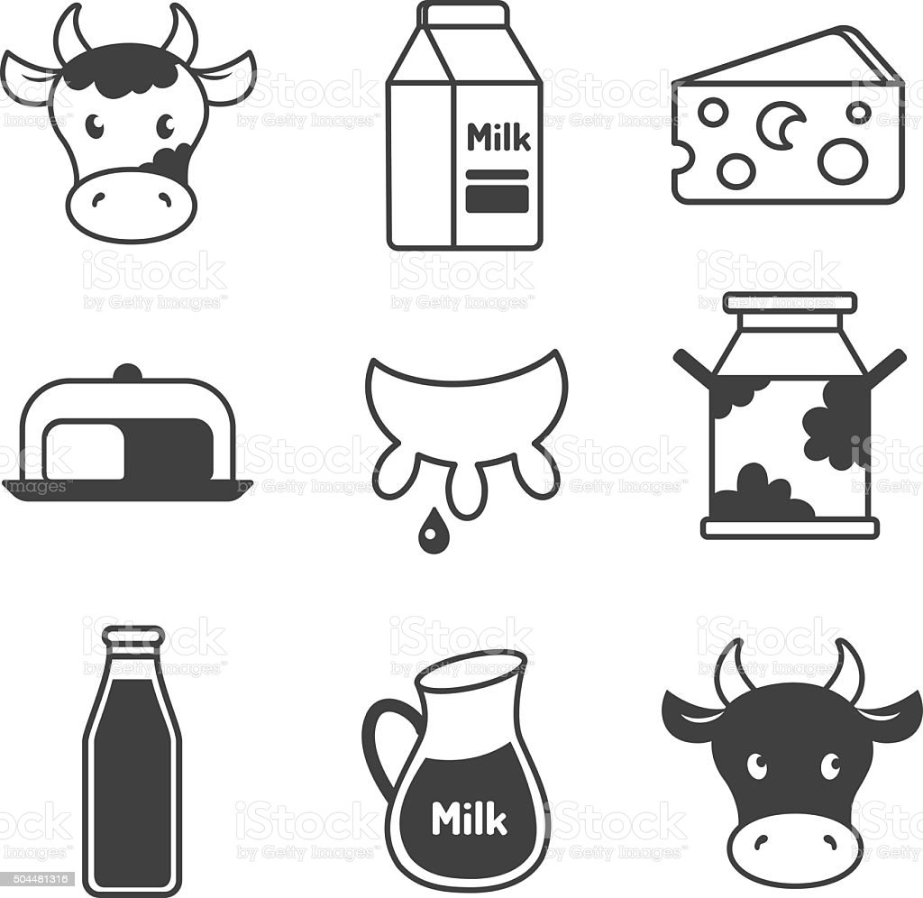 Dairy and milk icons set vector art illustration