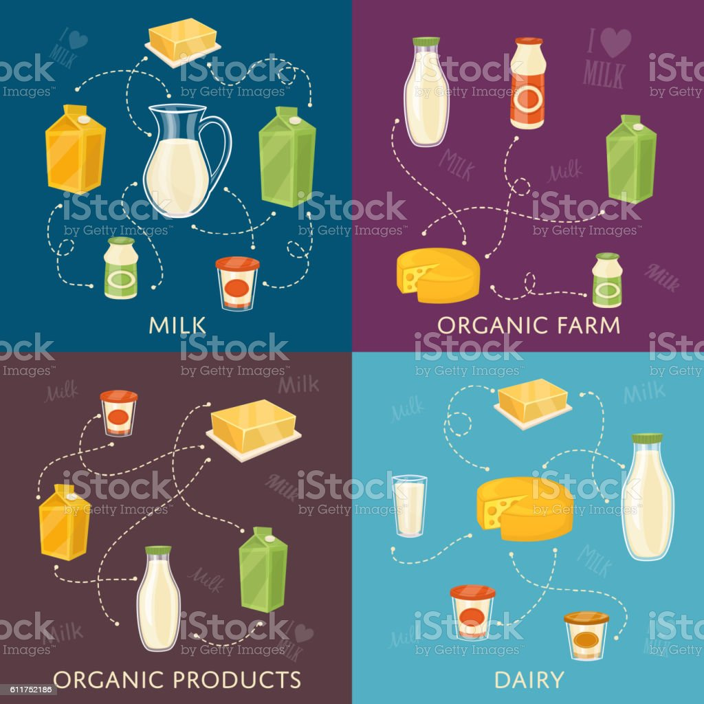 Dairy banners set with milk products vector art illustration
