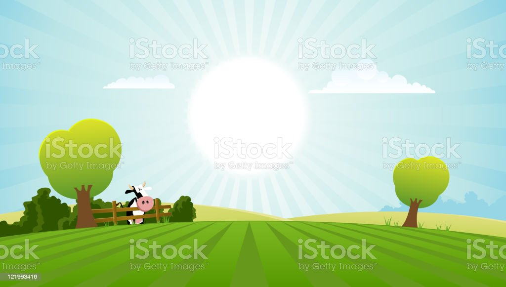 Dairy Cow In Summer Landscape royalty-free stock vector art