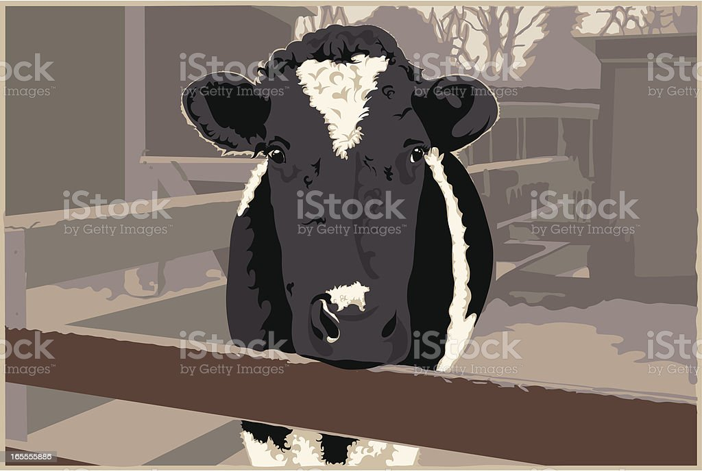 Dairy Cow on a Farm royalty-free stock vector art