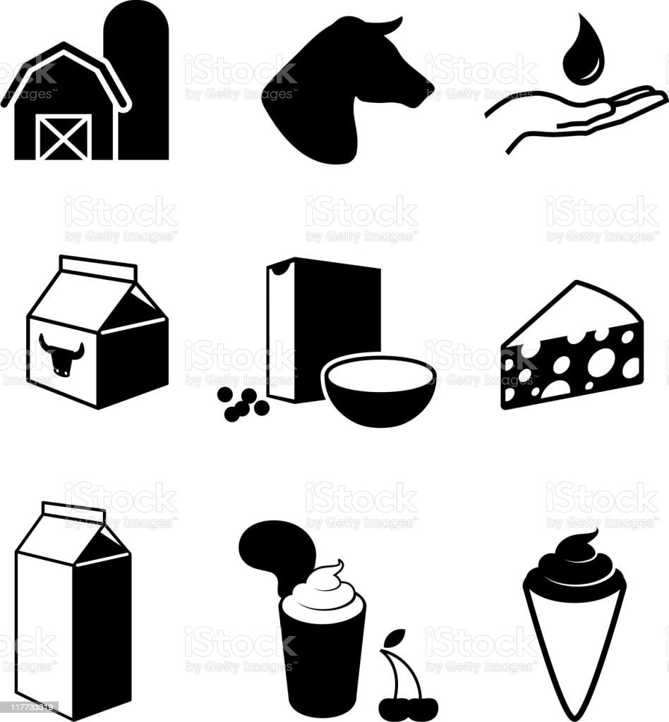 dairy farm and products black & white vector icon set vector art illustration