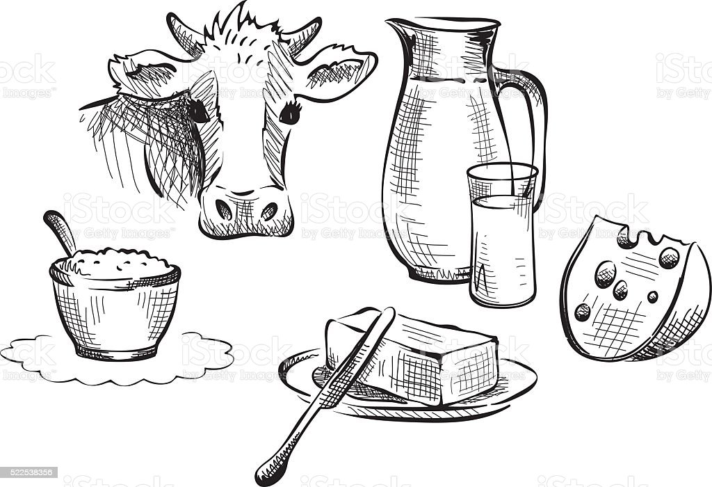 Dairy produce, farm products vector art illustration