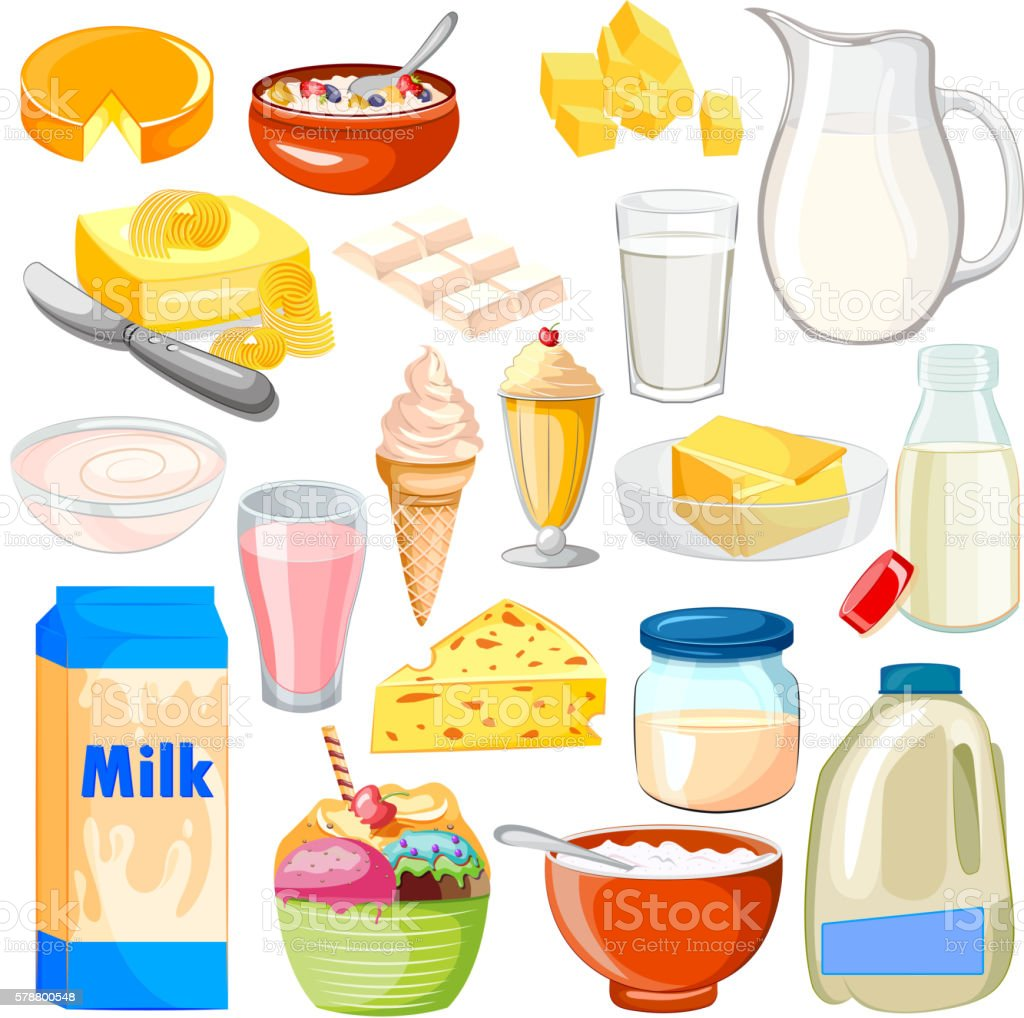 Dairy Product Food Collection vector art illustration