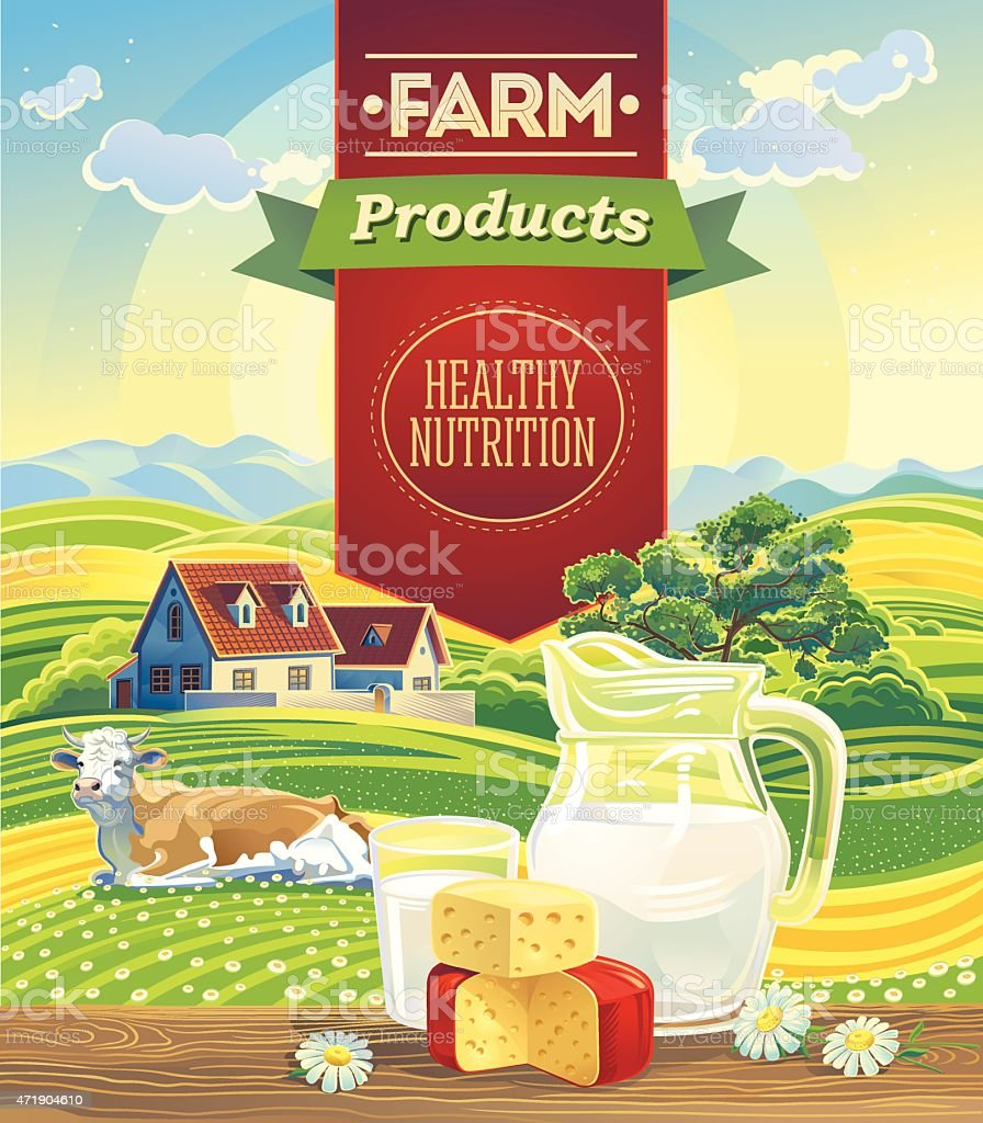 Dairy products and landscape with cow. vector art illustration