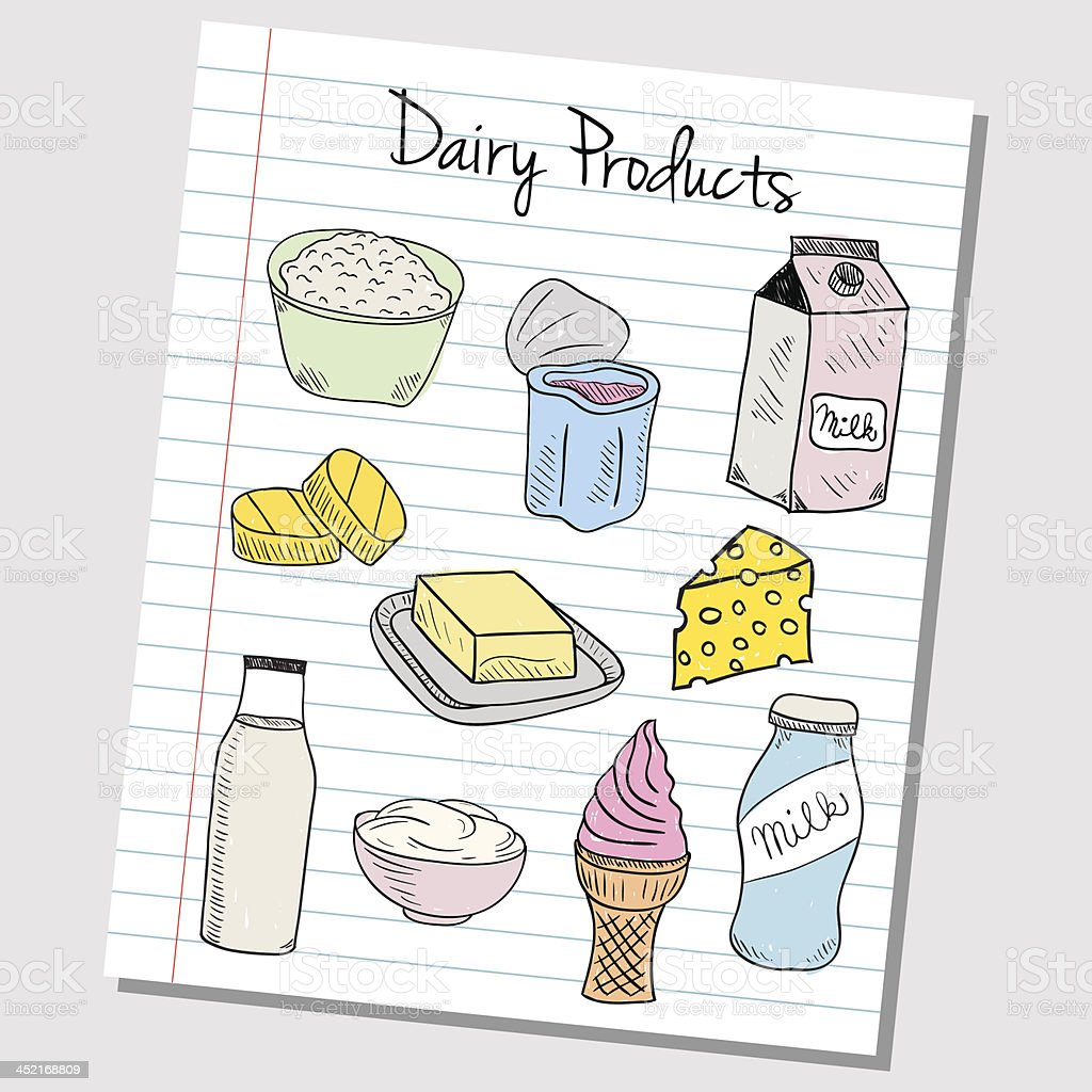 Dairy products doodles - lined paper royalty-free stock vector art