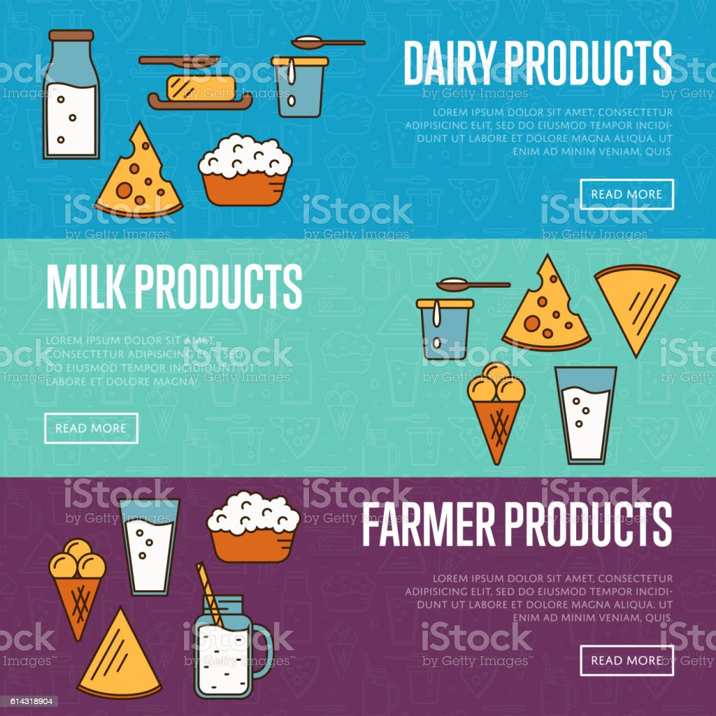 dairy products horizontal website templates stock vector art